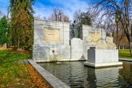 MADRID, SPAIN - JANUARY 1, 2018: The monument of Santiago Ramon y Cajal, dated 1926, in the Buen Retiro Park, Madrid, Spain Editorial