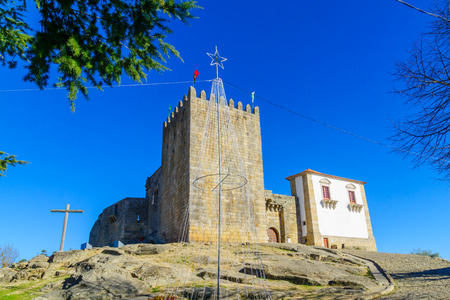 View of the Belmonte castle, in Belmonte, Castelo Branco, Portugal Editorial