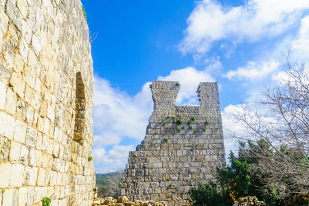 Remains of the Yehiam Fortress, from the Crusader and Ottoman period, in the western Upper Galilee, Northern Israel Stock Photo
