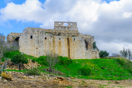 Remains of the Yehiam Fortress, from the Crusader and Ottoman period, in the western Upper Galilee, Northern Israel Editorial