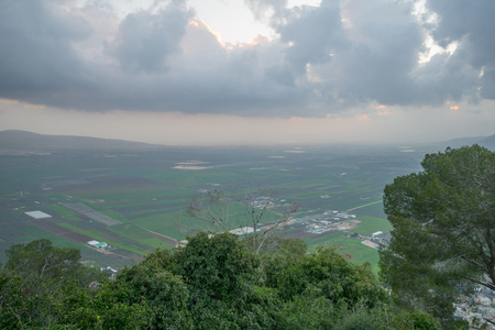 Sunset view of the Jezreel Valley from Mount Tabor. Northern Israel