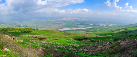 Panoramic view of the Jordan River valley, south of the Sea of Galilee. Northern Israel Stock Photo - 96369494