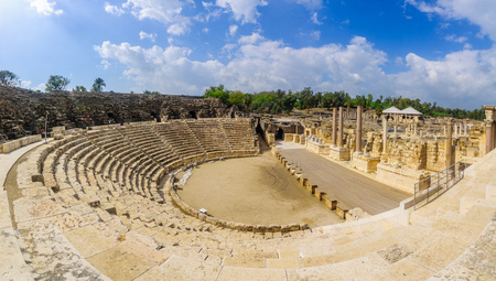 View of the Roman theater in the ancient city of Bet Shean, now a national park. Northern Israel Stock Photo