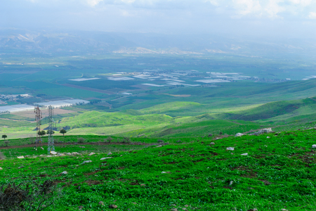 View of the Jordan River valley, south of the Sea of Galilee. Northern Israel Stock Photo