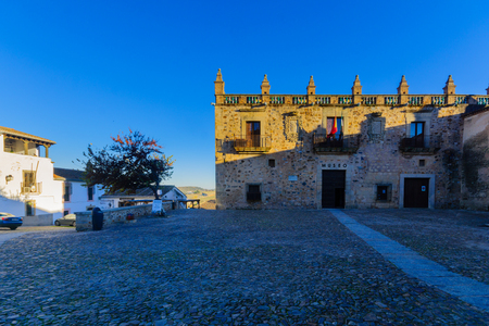 CACERES, SPAIN - DECEMBER 21, 2017: View of the Plaza de las Valetas square, in Caceres, Extremadura, Spain