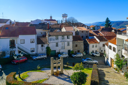 View of the village center, and a water tower (with village name), in Belmonte, Castelo Branco, Portugal