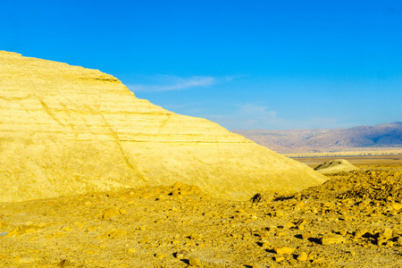 Desert landscape, and marlstone rock formation, near Masada and the Dead Sea, Southern Israel Stock Photo