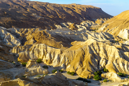 Landscape of the valley of Zohar, and Zohar fortress, in the Judaean Desert, Southern Israel Stock Photo