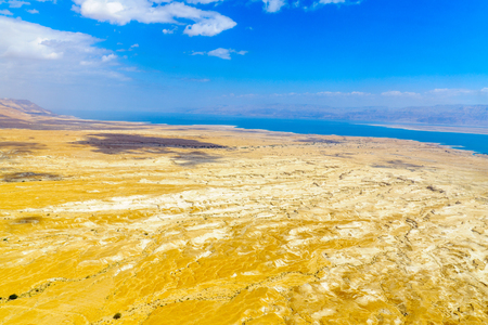 Landscape of the Dead Sea, viewed from Masada, on the eastern edge of the Judaean Desert, Southern Israel Stock Photo