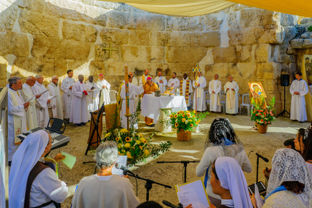 EMMAUS, ISRAEL - APRIL 2, 2018: Easter Monday Solemn Mass at the basilica of Emmaus-Nicopolis, with the Latin Patriarch of Jerusalem and other priests, Israel. Commemorating Jesus resurrection