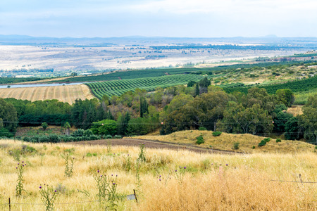 Landscape of countryside in the Hula Valley, view from Tel Hazor, Northern Israel