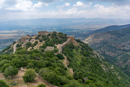 View of Hula Valley landscape and the Nimrod Fortress, a 13th century Muslim castle in northern Israel, now a national park Foto de archivo