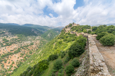 View of landscape and the Nimrod Fortress, a 13th century Muslim castle in northern Israel, now a national park