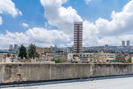 HAIFA, ISRAEL - JULY 20, 2018: View of Haifa and the Carmel mountain from Hadar HaCarmel neighborhood, Haifa, Israel