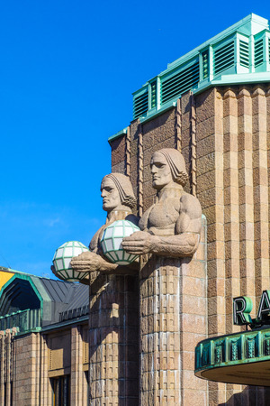 The facade of Helsinki Central railway station, in Helsinki, Finland