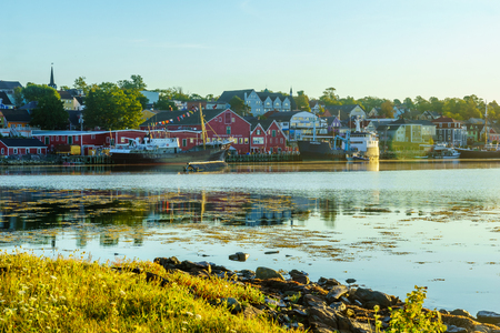 Lunenburg, Canada - September 21, 2018: Morning view of the waterfront and port of the historic town Lunenburg, Nova Scotia, Canada