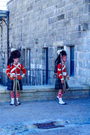 Halifax, Canada - September 23, 2018: View of Halifax Citadel, with soldiers in traditional uniforms. Nova Scotia, Canada