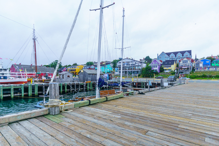 Lunenburg, Canada - September 22, 2018: View of the historic port and waterfront buildings, in Lunenburg, Nova Scotia, Canada