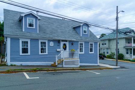 Lunenburg, Canada - September 21, 2018: View of historic wooden houses, in Lunenburg, Nova Scotia, Canada