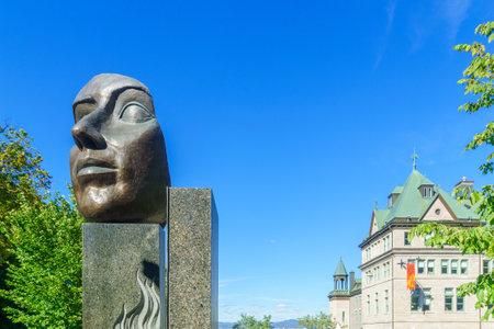 Quebec City, Canada - September 27, 2018: The Monument aux Freres Educateurs, in Quebec City, Quebec, Canada