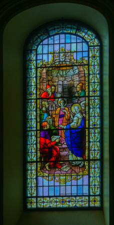 Quebec City, Canada - September 27, 2018: Stained glass window in the Cathedral-Basilica of Notre-Dame de Quebec, in Quebec City, Quebec, Canada Editorial