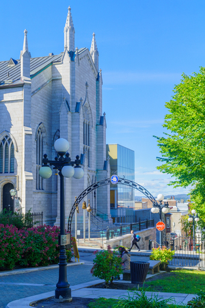 Quebec City, Canada - September 27, 2018: View of the Presbyterian St-Andrews church, with locals and visitors, in Quebec City, Quebec, Canada