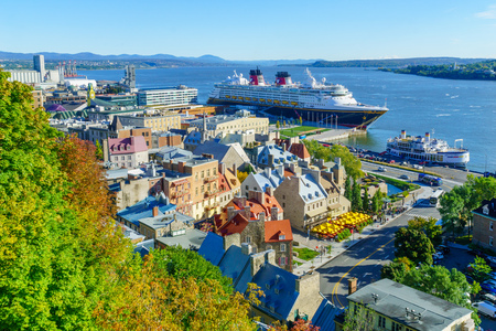 Quebec City, Canada - September 27, 2018: View of lower town and the Saint Lawrence River, with locals and visitors, in Quebec City, Quebec, Canada Editoriali