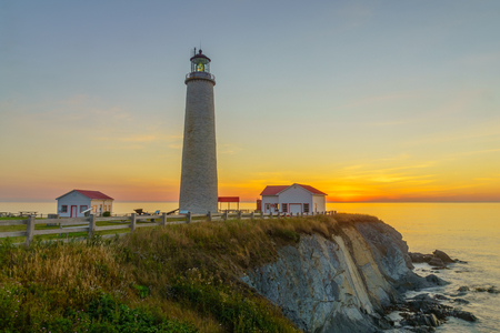 Sunrise in the Cap-des-Rosiers Lighthouse, Gaspe Peninsula, Quebec, Canada