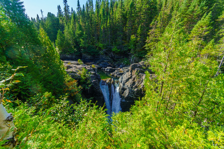View of the Saint-Anne Waterfall, in Gaspesie National Park, Gaspe Peninsula, Quebec, Canada