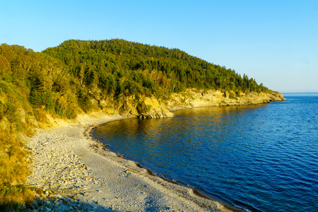 Landscape of shore and ocean in the south sector of Forillon National Park, Gaspe Peninsula, Quebec, Canada