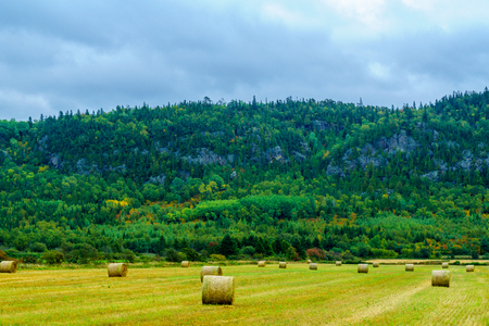 View of countryside and hills in Saint Andre, Quebec, Canada