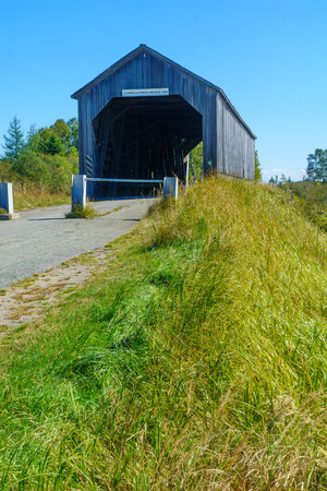 View of the Sawmill Creek Covered Bridge, in Hopewell Hill, New Brunswick, Canada