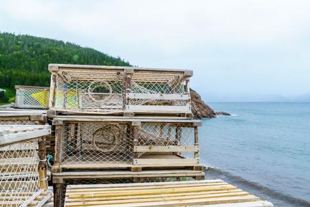 Lobster traps in White Point, Cape Breton island, Nova Scotia, Canada