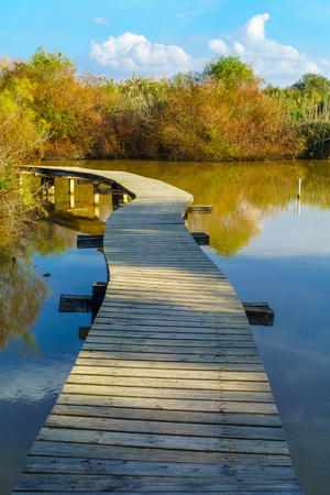 View of an elevated footpath over the water in En Afek nature reserve, Northern Israel Reklamní fotografie
