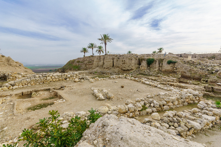 Archaeological remains in Tel Megiddo National Park. Northern Israel