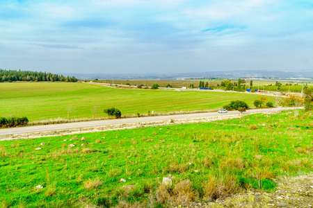 Landscape of the Jezreel Valley viewed from Megiddo. Northern Israel