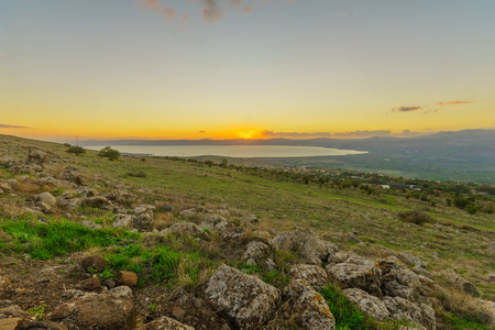 Sunset view from the north of the Sea of Galilee (Kinneret Lake). Northern Israel