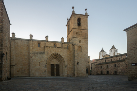 Sunset view of the Co-catedral de Santa Maria, in Caceres, Extremadura, Spain