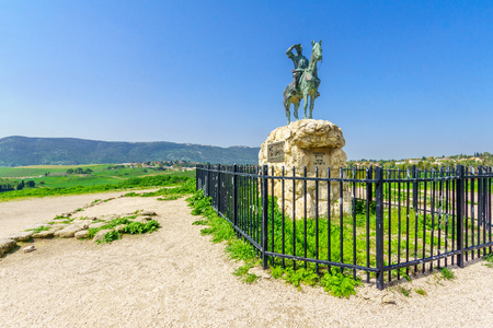 Kiryat Tivon, Israel - March 13, 2019: The statue of Alexander Zaid - the Watchman, on the summit of Shekh Abrek hill, in Bet Shearim National Park, Northern Israel