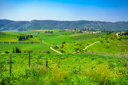Landscape of Jezreel Valley, from Bet Shearim (Shekh Abrek hill), Northern Israel Stock Photo