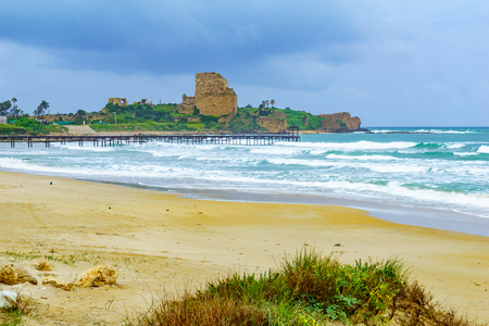 View of the Atlit beach and fortress (Chateau Pelerin), Northern Israel