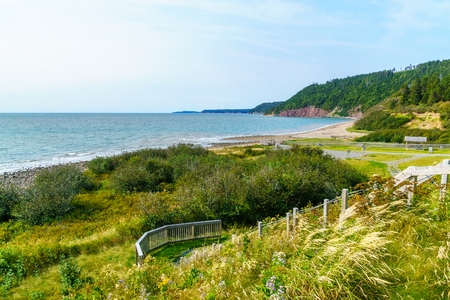 View of coastal landscape in Fundy Trail Parkway park, New Brunswick, Canada Stock Photo