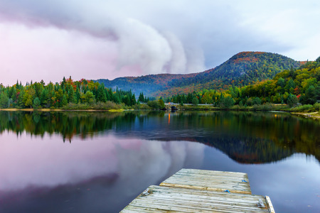 Sunset view of the Petit Lac Monroe, in Mont Tremblant National Park, Quebec, Canada