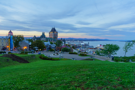 Sunset view of the old town and the Saint Lawrence River from the citadel, Quebec City, Quebec, Canada