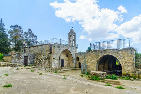 View of the old Maronite church in Baram National Park, Northern Israel Stock Photo