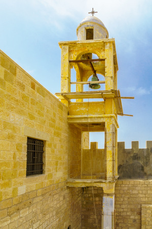 View of the bell tower of Jews Palace church in Qasr el Yahud