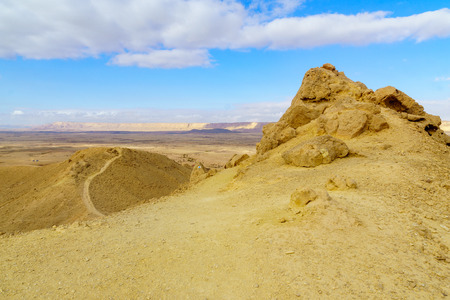 Landscape of Makhtesh (crater) Ramon (from mount Ardon), in the Negev Desert, Southern Israel. It is a geological landform of a large erosion cirque Stock fotó