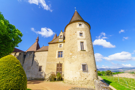 Corcelles-en-Beaujolais, France - May 06, 2019: View of the chateau de Corcelles, in Beaujolais, Rhone department, France