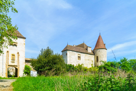 Quincie-en-Beaujolais, France - May 07, 2019: View of the Chateau de Varennes, in Beaujolais, Rhone department, France Editorial