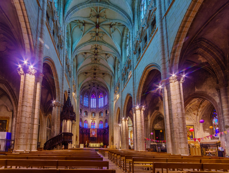 Lyon, France - May 09, 2019: The interior of Saint-Nizier Church, in Lyon, France Editorial